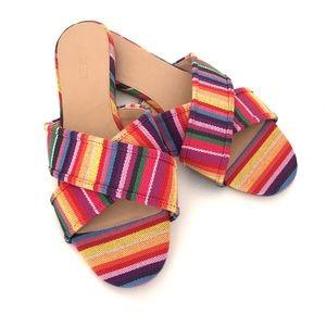J CREW Cora Crisscross Sandals Rainbow Multistripe